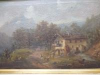 Öl Gemälde Landschaft mit Haus